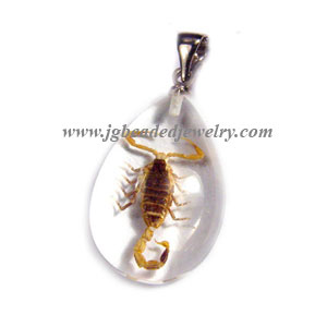 Teardrop Real Scorpion Necklace