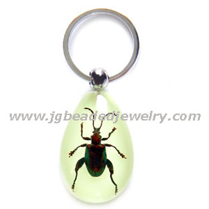 Glow in the Dark Real Purple Stem Beetle Keychain