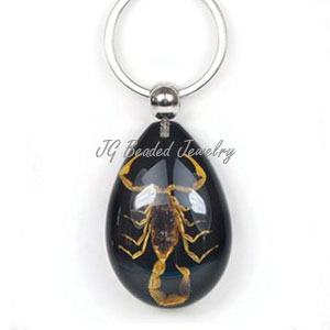 Real Scorpion Keychain Black