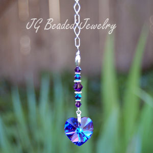 Swarovski Purple Heart Crystal Decoration