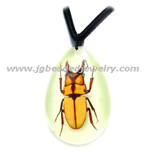 Golden Stag Beetle Glow in the Dark Necklace