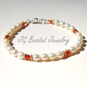 Fire Opal Swarovski Pearl Bracelet