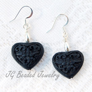 Heart Cinnabar Earrings