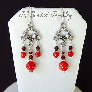 Coral and Mocha Swarovski Crystal Earrings