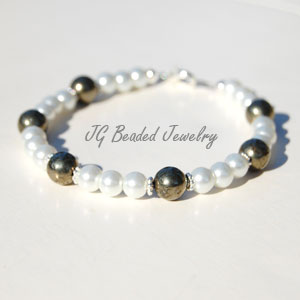 Pearl and Pyrite Bracelet